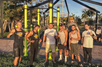 Portable street workout grounds in Miami, USA